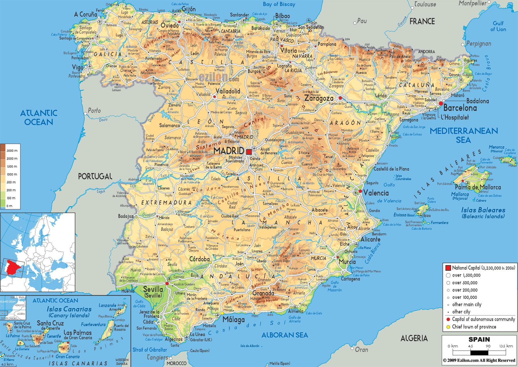 spanyolország térkép Hegyek Spanyolország térkép   hegyvonulatok Spanyolországban
