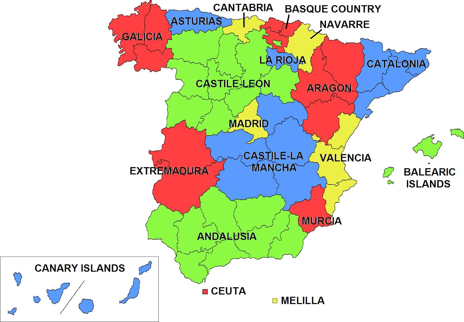 spanyol térkép Spanyolország autonóm közösségek térkép   Térkép a Spanyol autonóm  spanyol térkép