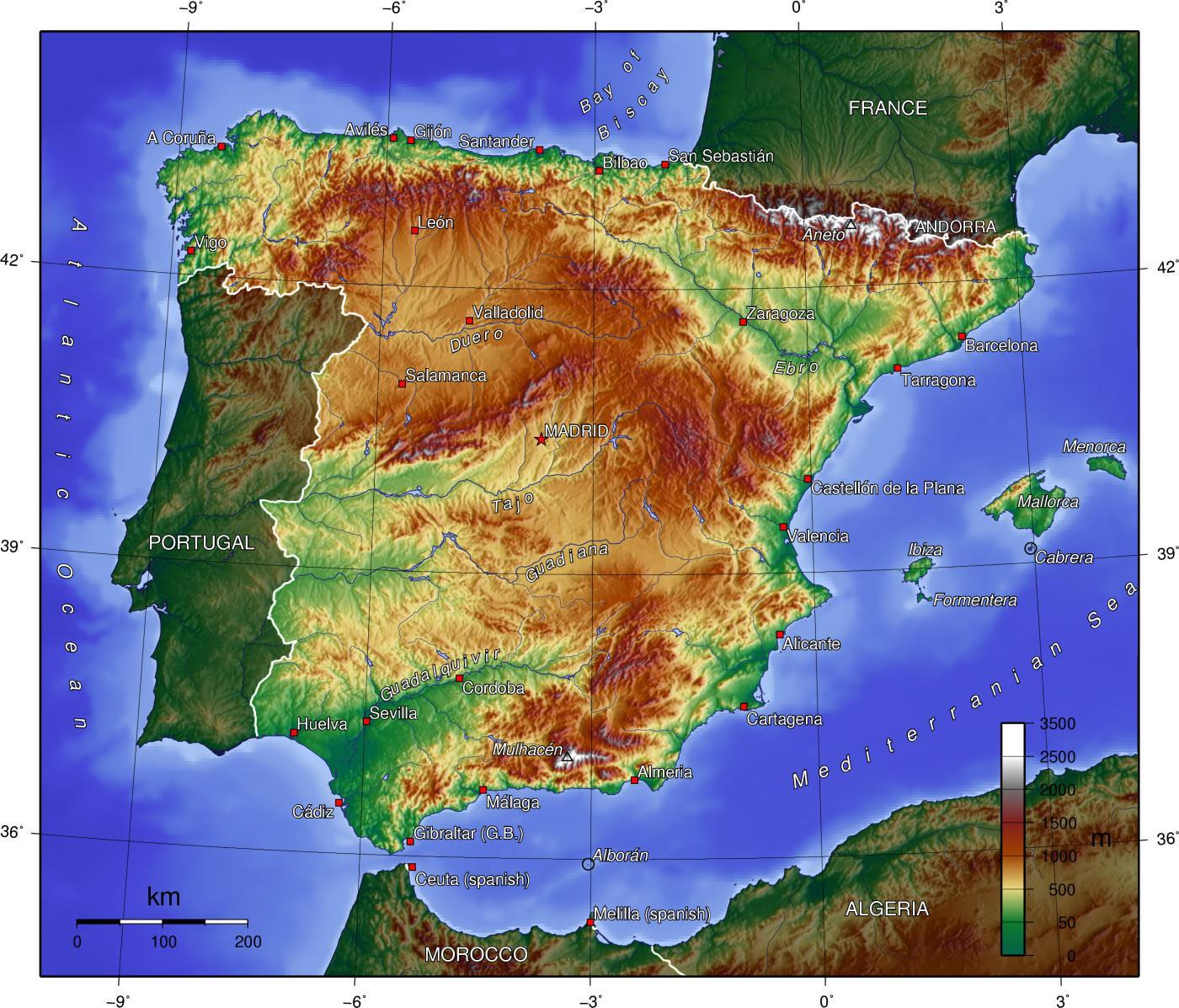 spanyolország domborzati térkép Spanyolország domborzati térkép   Térkép Spanyolország terep (Dél  spanyolország domborzati térkép
