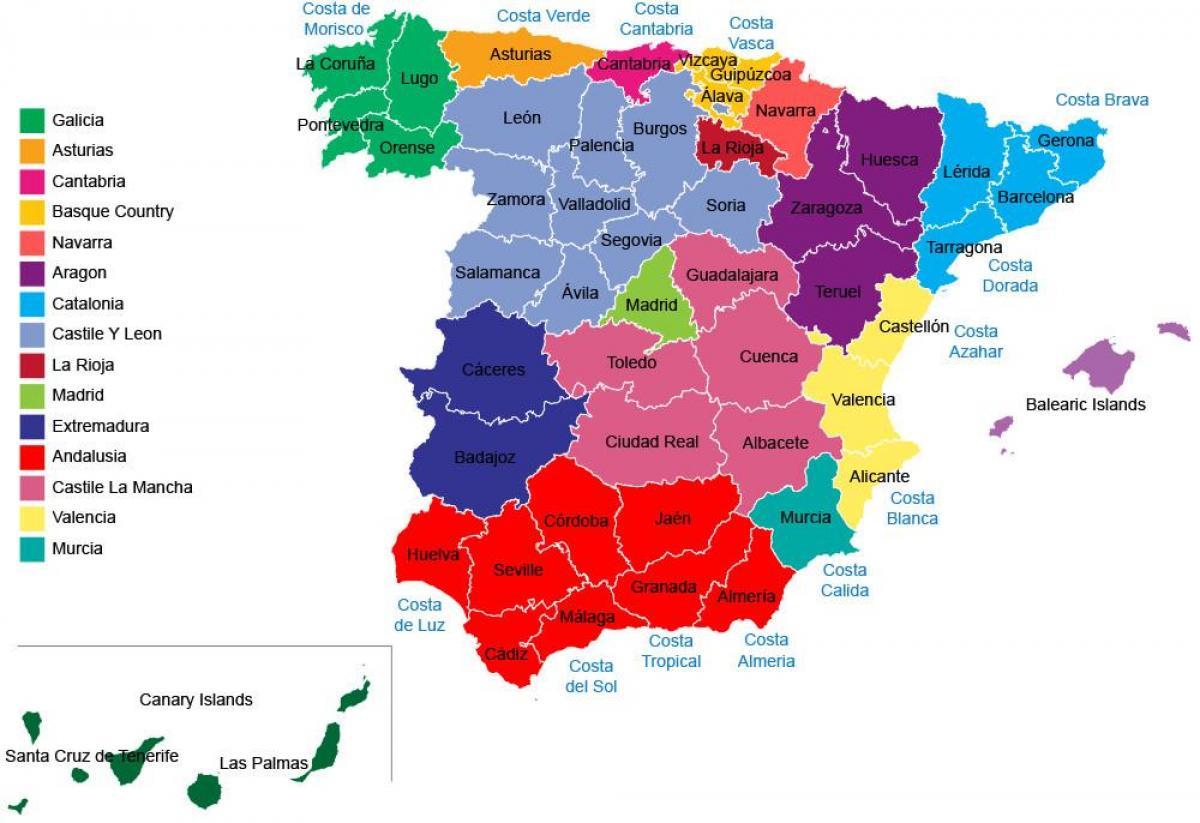 Spanyolorszag Tartomanyai Terkep Marlpoint