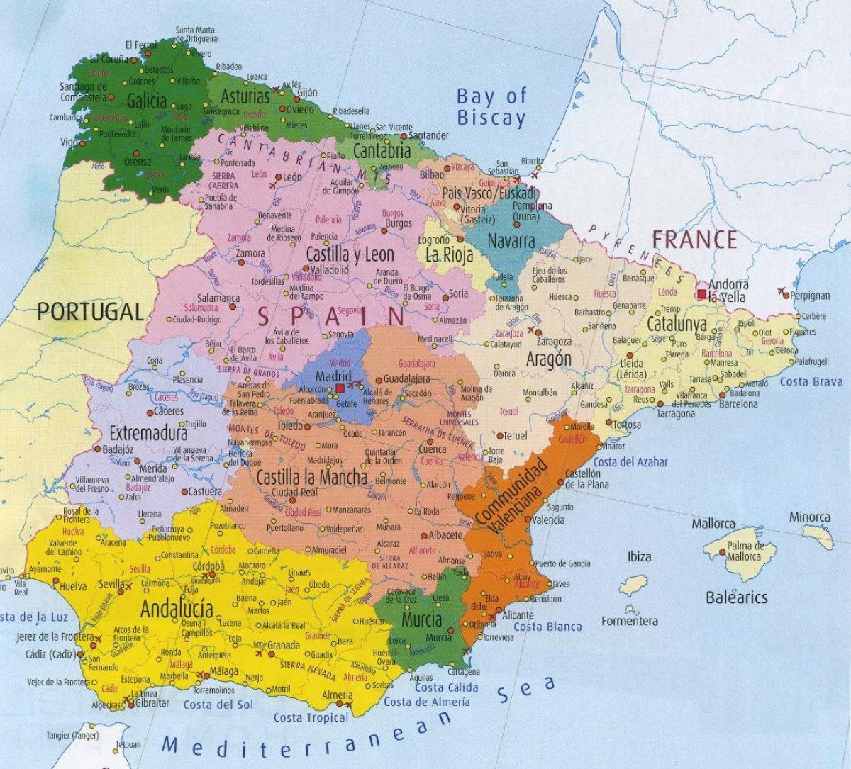 Terkep Spanyol Regiok Reszletes Terkep Spanyolorszag Regio Del