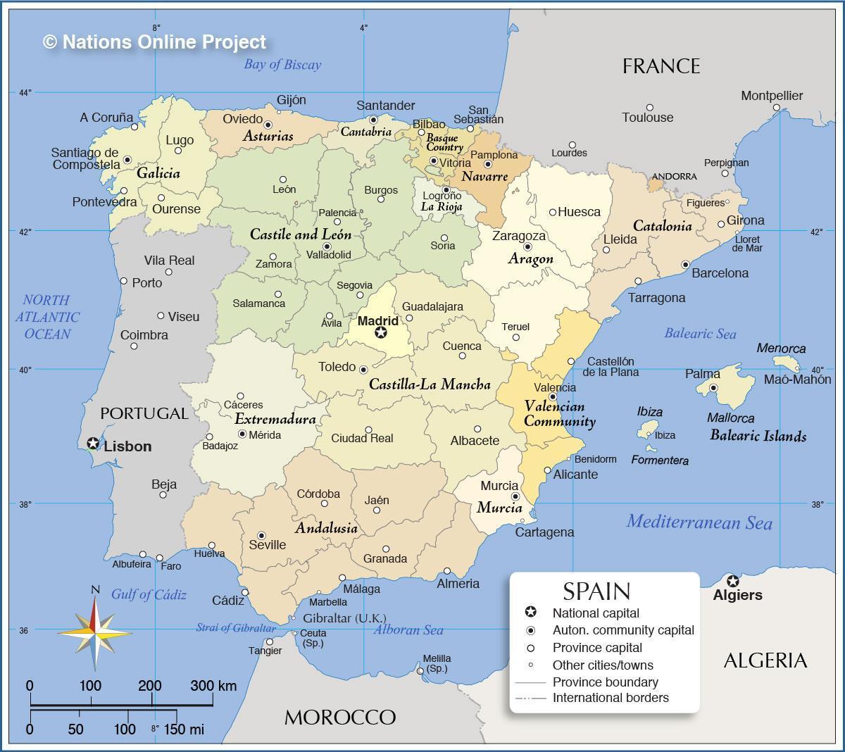 Terkep Spanyolorszag Spanyolorszag Terkep Del Europaban Europa