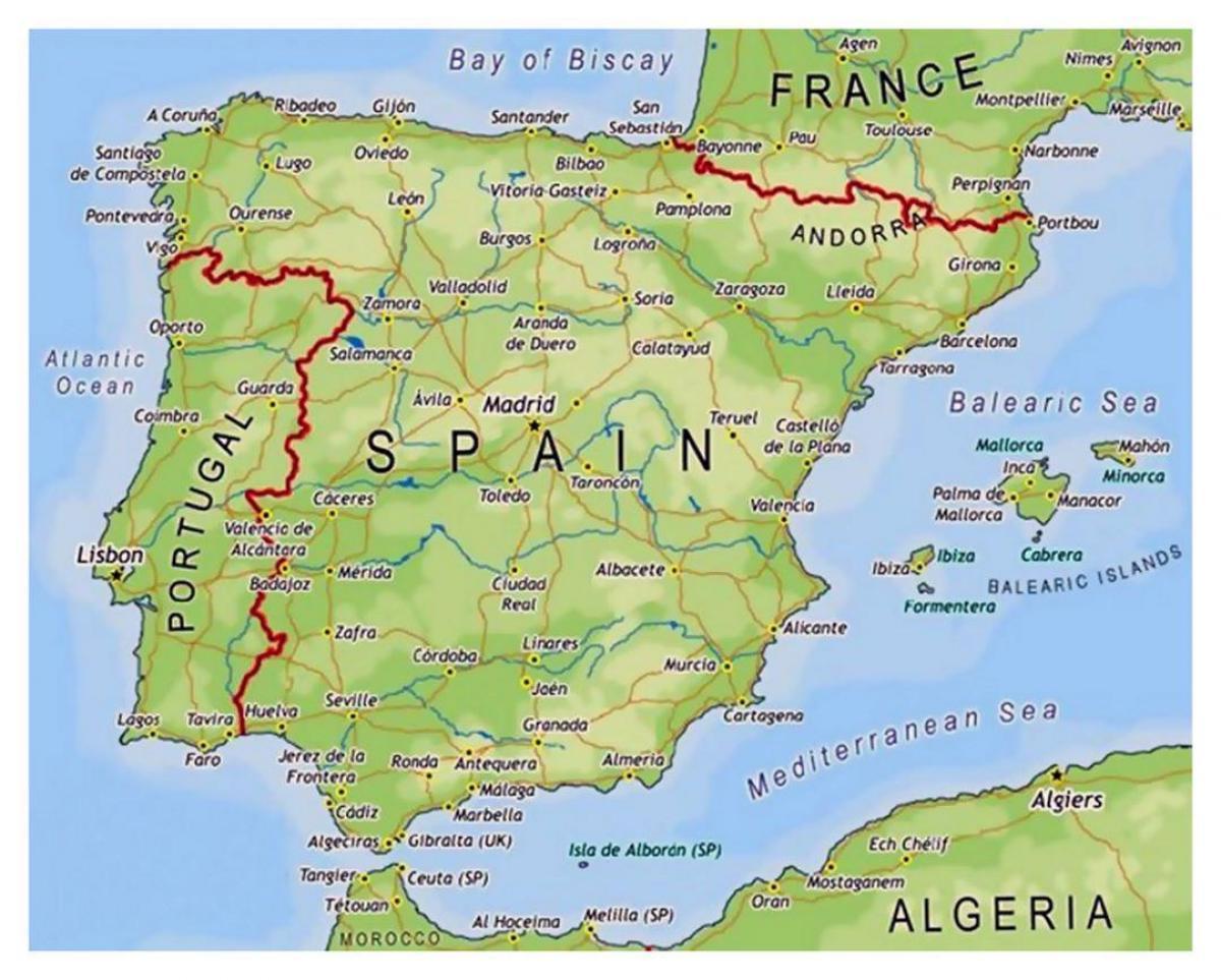 Teruletek Spanyolorszag Terkep Kis Terkep Spanyolorszag Del